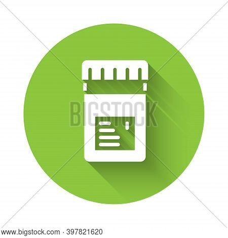 White Biologically Active Additives Icon Isolated With Long Shadow. Green Circle Button. Vector