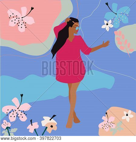 Young Woman Staying In Beach Dress Around Tropical Leaves, Lotus Flowers.her Hair Flutters.hand Draw