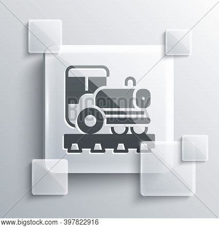 Grey Vintage Locomotive Icon Isolated On Grey Background. Steam Locomotive. Square Glass Panels. Vec