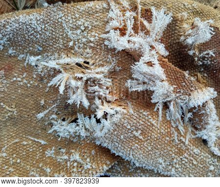 Close-up Of Hoarfrost On Natural Burlap Sacking.