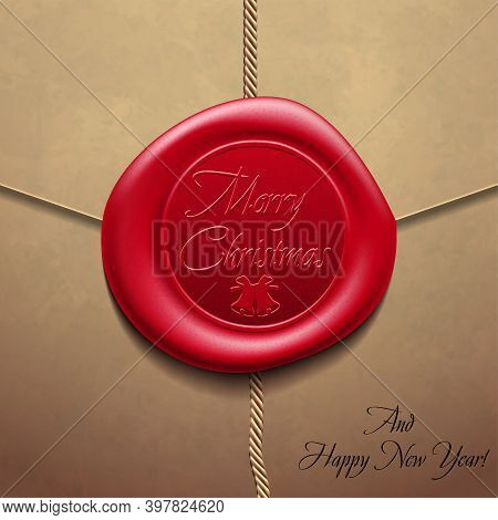 Merry Christmas And Happy New Yearenvelope With Wax Seal. Sealing Wax. Vector Illustration