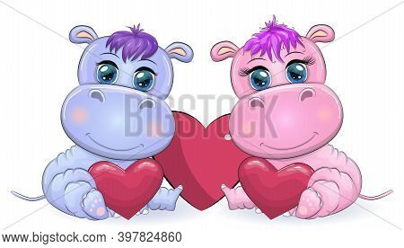 Two Cute Cartoon Hippo With Beautiful Eyes Among The Hearts Of A Boy And A Girl. Greeting Card, Vale