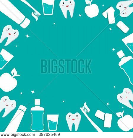 Dental And Oral Care Frame. Items For Daily Hygiene Of The Oral Cavity. Mouthwash And Toothbrush Wit