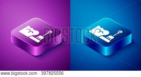 Isometric Shovel In Snowdrift Icon Isolated On Blue And Purple Background. Square Button. Vector