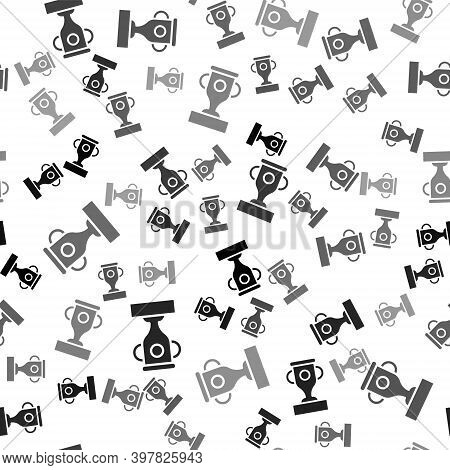 Black Award Cup Icon Isolated Seamless Pattern On White Background. Winner Trophy Symbol. Championsh