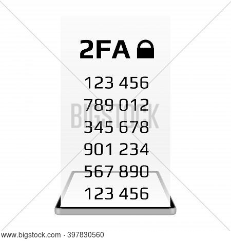 Two Factor Authentication 2fa Concept With A Smartphone Isolated On White Background. Protecting You