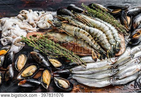 Assorted Set Of Fresh Seafood Tiger Prawns, Shrimps, Blue Mussels, Octopuses, Sardines, Smelt. Dark