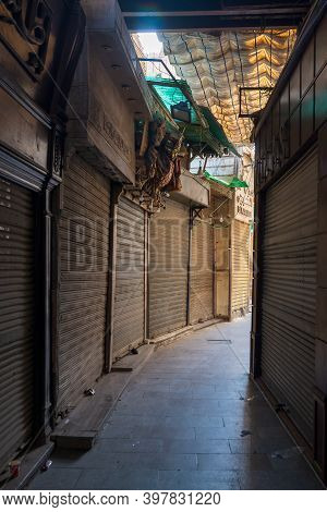 Cairo, Egypt- June 26 2020: Alleys Of Old Historic Mamluk Era Khan Al-khalili Famous Bazaar And Souq