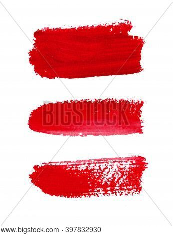 Set With Bright Red Brush Strokes And Textures On A White Background. Grunge Hand-painted Abstract E