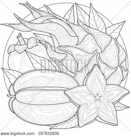 Carom Fruit, Pitaya, Mangosteen.coloring Book Antistress For Children And Adults. Zen-tangle Style.b