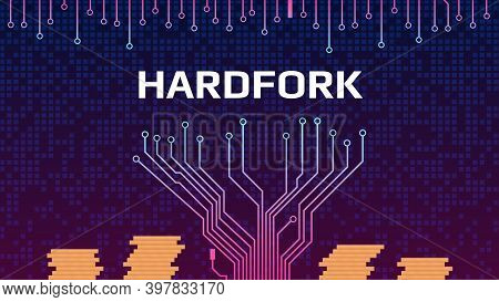 Cryptocurrency Coin Hardfork With Pcb Tracks And Stacks Of Coins. Splitting A Coin Into Two Ways. Ve