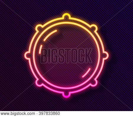 Glowing Neon Line Dial Knob Level Technology Settings Icon Isolated On Black Background. Volume Butt