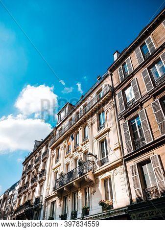 PARIS, FRANCE - August 22, 2019: Antique building view in Paris city, France.