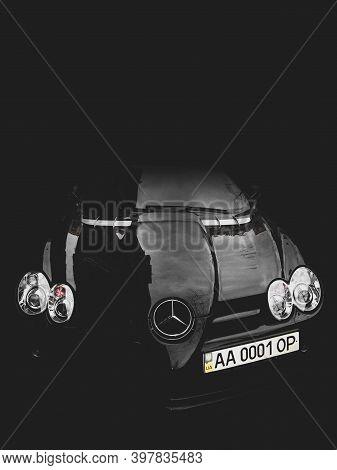 March 7, 2011 - Kiev, Ukraine: Black Mercedes-benz Slr Mclaren In The Shadows