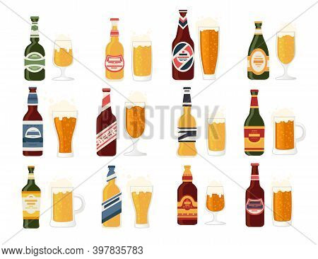 Beer Bottles With Label And Glass Beer Mug Bottles With Different Types Of Beer Alcohol Drink Flat V