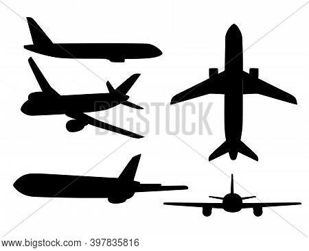 Set Of Black Silhouettes Big Passenger Airplane Turbine Jet Flat Vector Illustration Isolated On Whi