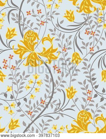 Floral Seamless Pattern With Big Yellow Flowers, Tulips And Foliage On Light Background. Foliage, Bi