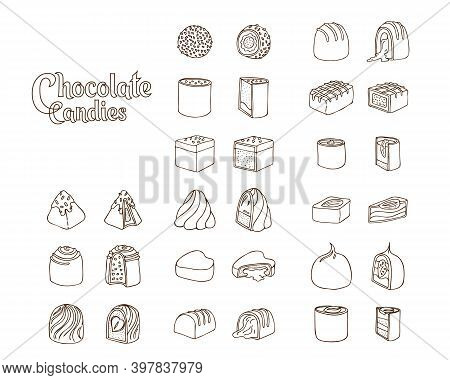 Set Of Vector Doodle Linart Illustrations Of Chocolate Candies Isolated On White Background