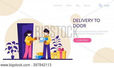 Courier Hands Over The Parcel To The Client. Express Delivery Of Packages, Goods To The Home. Parcel