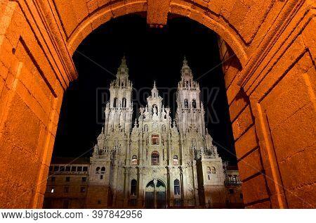 Cathedral At Night From Praza Do Obradoiro. Santiago De Compostela, Coruña, Galicia, Spain.