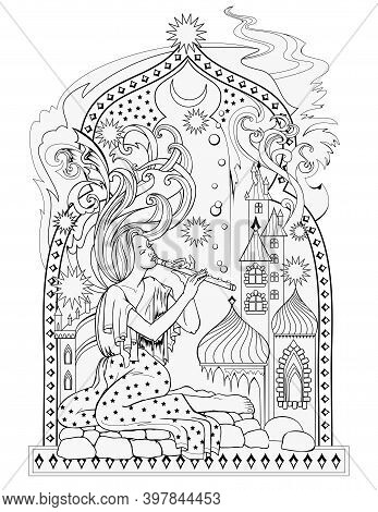 Black And White Page For Kids Coloring Book. Illustration Of Eastern Fairyland. Beautiful Dreamy Fai