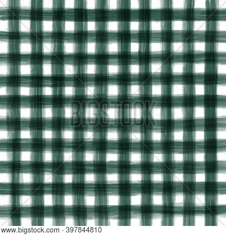 Green Black White Vintage Checkered Background With Blur, Gradient And Grunge Texture. Classic Check