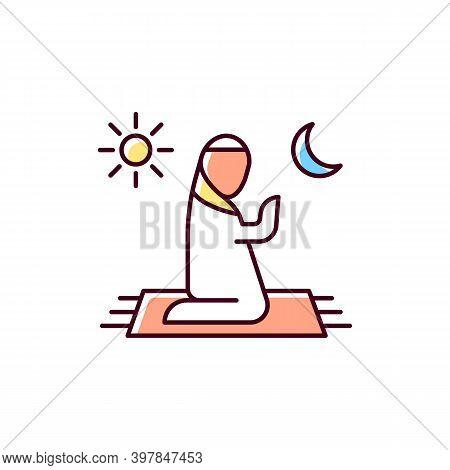Prayer Rgb Color Icon. Talking To God. Quite Communication Time. Religious Ritual Time. Spiritual Th