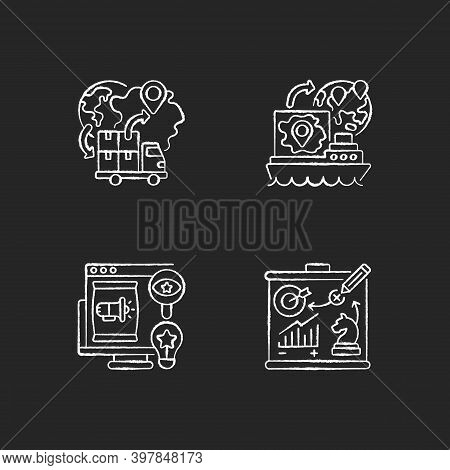 International Business Chalk White Icons Set On Black Background. Import And Export Trade. Brand Rec