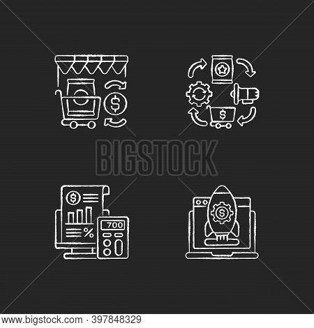 Business Management Chalk White Icons Set On Black Background. Retail Trade, Logistics Organization,