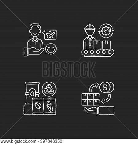 Industrial Business Chalk White Icons Set On Black Background. Customer Satisfaction, Manufacturing,