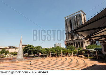 Banqiao, Taiwan - Oct 4th, 2020: City Hall Square with bright tower in New Taipei city, Taiwan