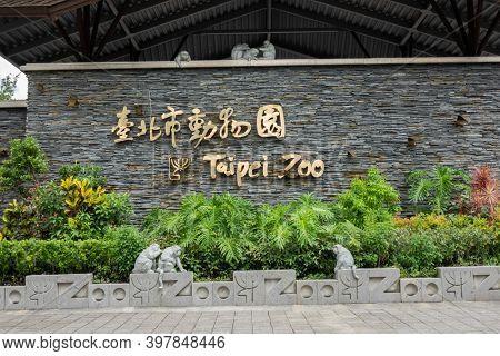 Taipei, Taiwan - June 15th, 2020: Taipei Zoo sign at entrance in Taipei, Taiwan, Asia