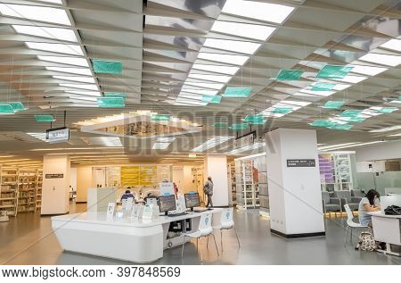 New Taipei, Taiwan - August 17th, 2019: interior of New Taipei city main library, New Taipei city, Taiwan, Asia