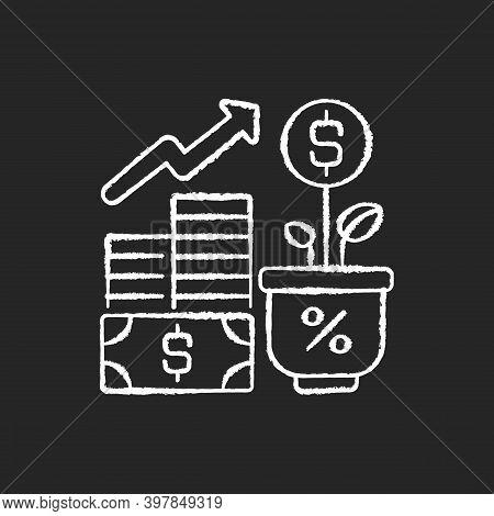 Income Increase Chalk White Icon On Black Background. Profitable Business. Growing Entrepreneurship