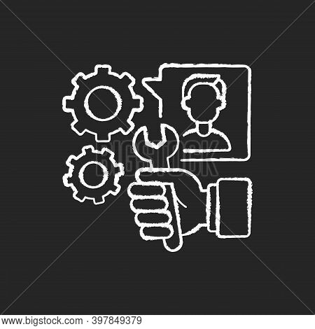 Providing Services Chalk White Icon On Black Background. Professional Maintenance And Customer Suppo