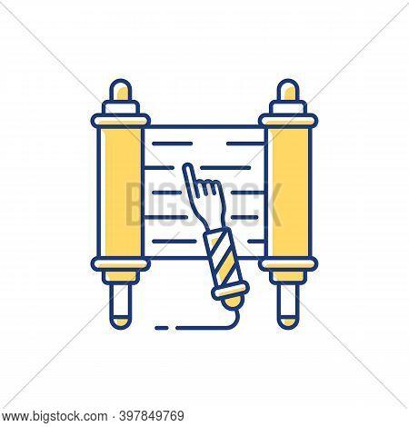 Torah Scroll Rgb Color Icon. Hebrew Bible. Esther Scroll. Yemenite. Purim Celebration. Shavuot Night