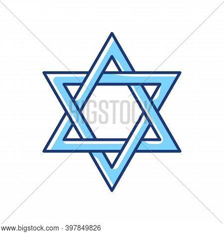 David Star Rgb Color Icon. Judaism Symbol. Central Symbol On Israeli Flag. Magen David. Six-pointed