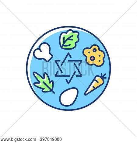Passover Seder Plate Rgb Color Icon. Food Platter. Symbolic Foods. Six Ritual Items. Family Traditio