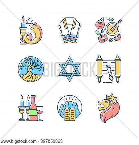 Judaism Symbols Rgb Color Icons Set. Shofar, Shophar. Jewish Prayer Shawl. Apples And Honey Pot. Lif