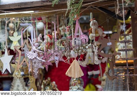 Christmas Souvenirs Are Hanging, Souvenir Gifts Are Sold At The Christmas Fair