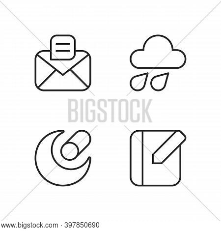 Mobile Interface Pixel Perfect Linear Icons Set. Message. Weather Forecast. Night Mode. Notebook. Cu
