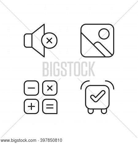Smartphone Interface Pixel Perfect Linear Icons Set. Silent Mode Setting. Photo Gallery. Calculator.