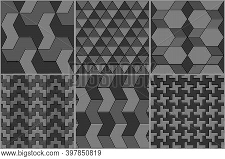 Collection Of Six Ethnic Seamless Patterns. Rhombuses, Diamonds, Lozenges, Triangles, Hexagons, Cros