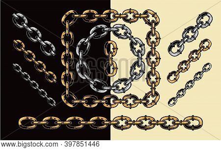 Golden And Silver Chains Pattern Brush In Vintage Style Isolated Vector Illustration