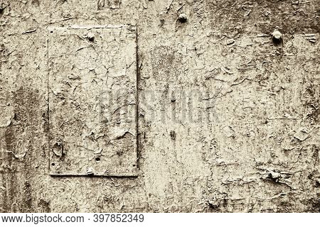 Abstract Old Painted Metal Surface With Patch For Vintage Textured Background And Wallpaper Fo Pale