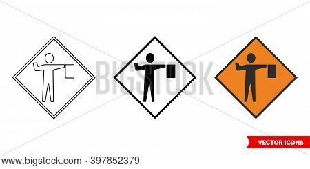 Flagman Ahead Roadworks Sign Icon Of 3 Types Color, Black And White, Outline. Isolated Vector Sign S