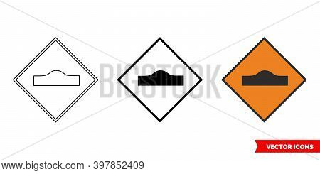 Hump Or Ramp Roadworks Sign Icon Of 3 Types Color, Black And White, Outline. Isolated Vector Sign Sy