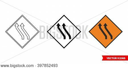 Move To Left Two Lane Roadworks Sign Icon Of 3 Types Color, Black And White, Outline. Isolated Vecto