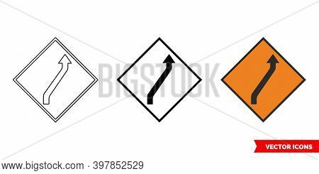 Move To Main Carraigeway One Lane Roadworks Sign Icon Of 3 Types Color, Black And White, Outline. Is