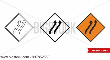 Move To Main Carraigeway Two Lane Roadworks Sign Icon Of 3 Types Color, Black And White, Outline. Is